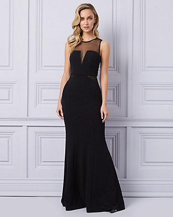 Knit Crêpe & Mesh Illusion Neck Gown