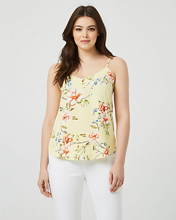 Floral Print V-Neck Sleeveless Blouse