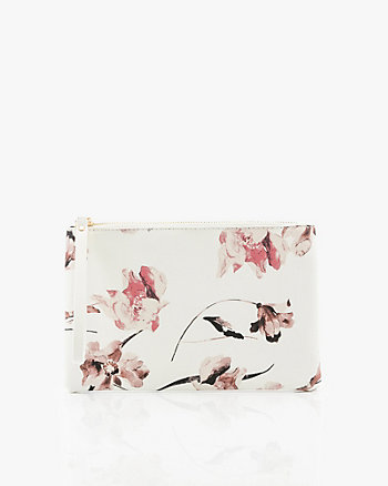 Floral Saffiano Leather-Like Cosmetic Pouch