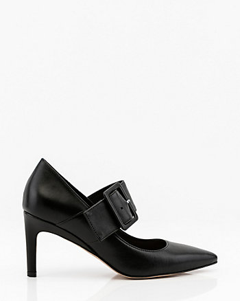 Leather Pointy Toe Mary Jane Pump