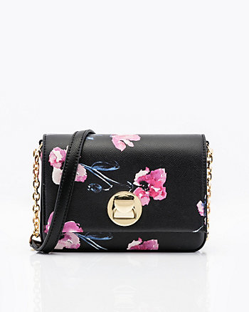 Mini Floral Leather-Like Crossbody Bag