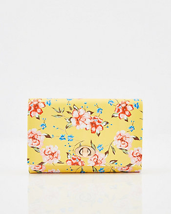 303bd81a27075 Floral Print Faux Leather Flapover Clutch