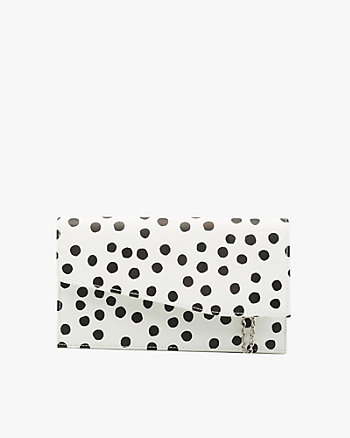 Polka Dot Leather-Like Crossbody Clutch