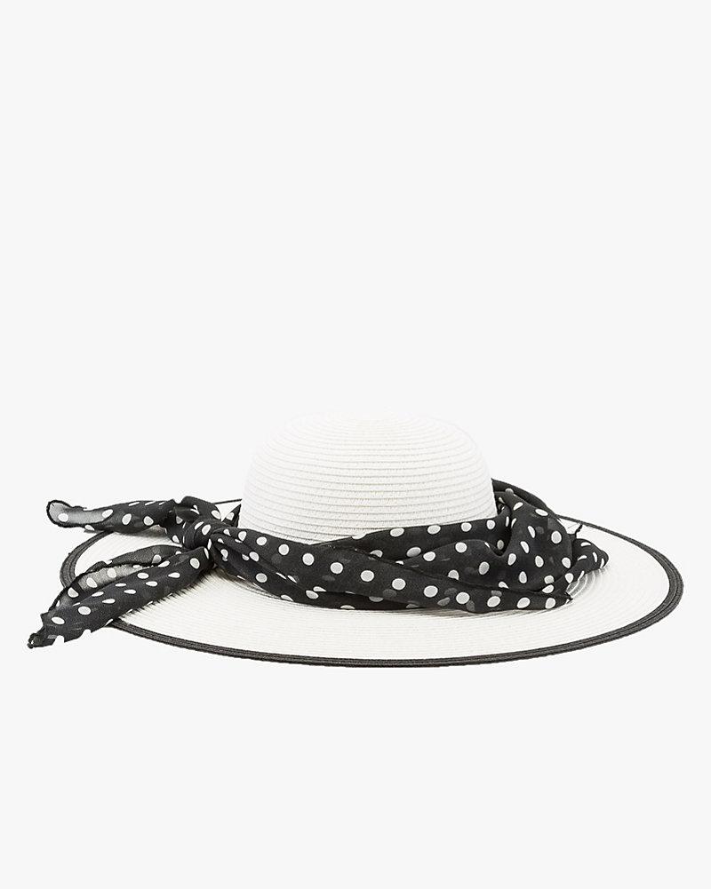 8056ff362e082 Polka Dot Band Floppy Straw Hat