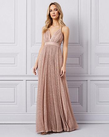 Glitter Mesh Deep-V Gown