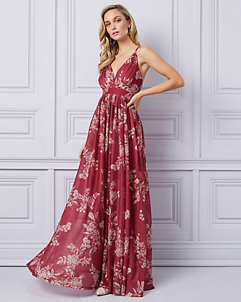 Floral Print Sheer Knit Deep-V Gown