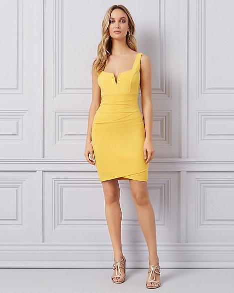 Yellow Pleated Mini Dress