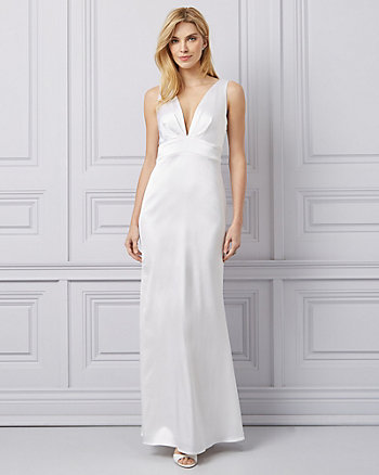 Matte Satin Deep-V Ruffle Gown