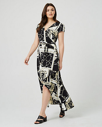 Scarf Print Wrap-Like Maxi Dress