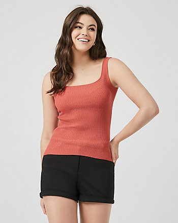 Viscose Blend Square Neck Ribbed Camisole