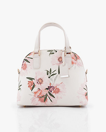 Floral Print Saffiano Faux Leather Satchel