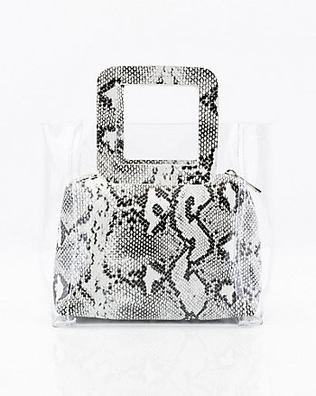 Snake Embossed Pouch & Transparent Tote