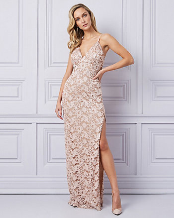 Lace V-Neck Gown