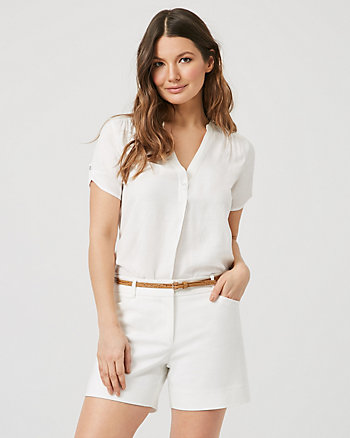 Linen-Like & Jersey Short Sleeve Blouse