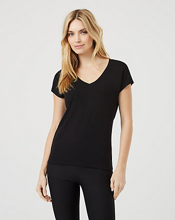 Crêpe V-Neck Cap Sleeve Top