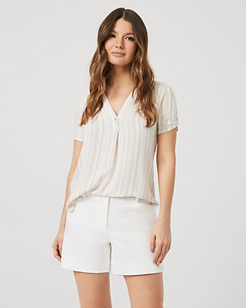 Stripe Linen-Like Short Sleeve Blouse