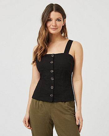 Knit Piqué Button-Front Bustier Top
