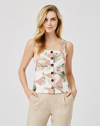 Tropical Print Button-Front Bustier Top