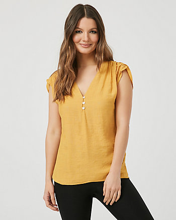 Gauze V-Neck Blouse