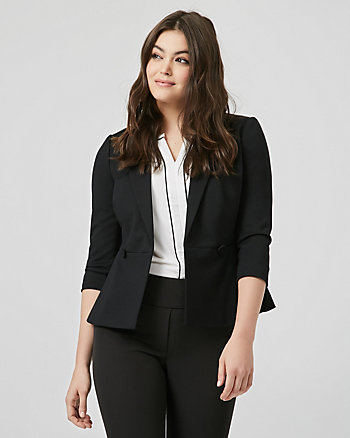 Ponte Knit Double Breasted Peplum Blazer