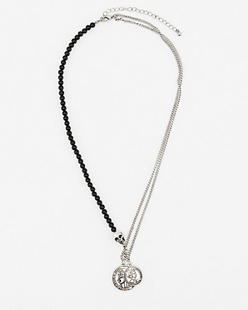 Coin & Skull Pendant Necklace