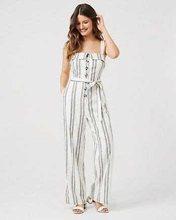 Stripe Linen Blend Wide Leg Jumpsuit