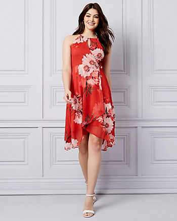 1dec465406c Floral Print Knit Halter Neck Dress ...