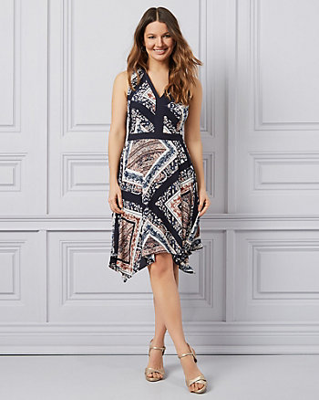 Scarf Print Crêpe de Chine Asymmetrical Dress