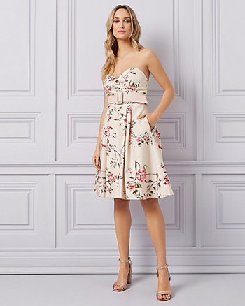 Floral Cotton Sateen Fit & Flare Dress