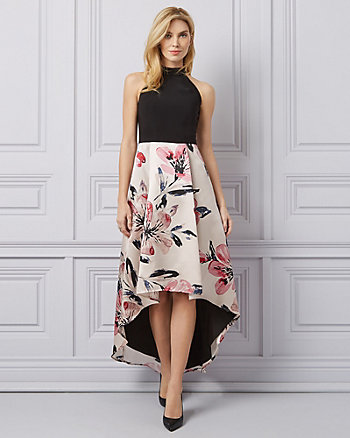 Floral Print High-Low Halter Gown