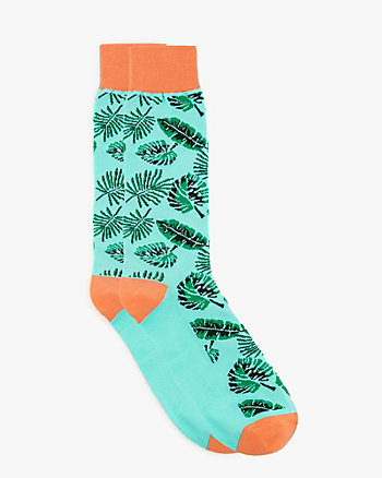 Leaf Print Cotton Blend Socks