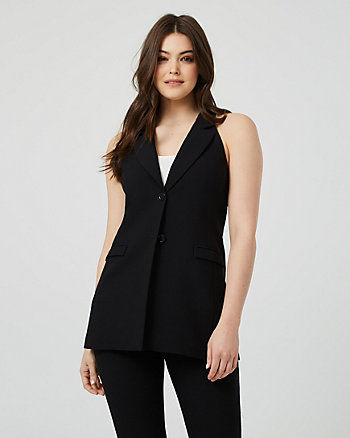 Viscose Blend Notch Collar Tailored Vest