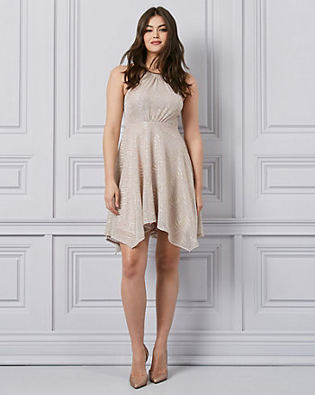 Foil Knit Halter Neck Cocktail Dress
