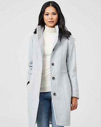 Manteau à col montant en mélange de laine