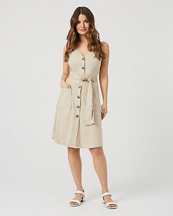 Linen Blend Button-Front Dress