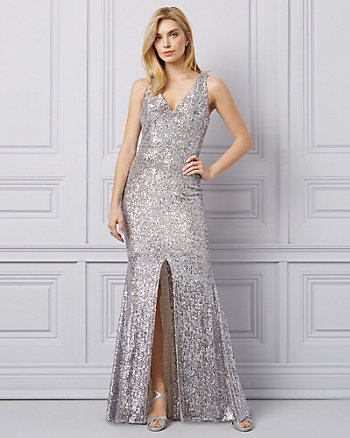 Sequin Deep-V Gown