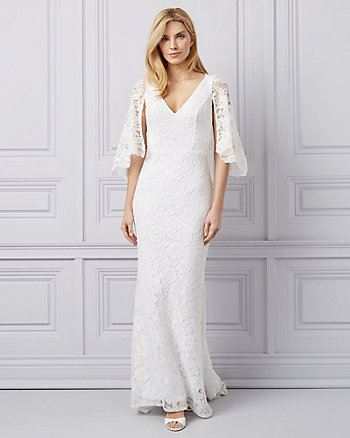 Embroidered Lace Cape Sleeve Gown