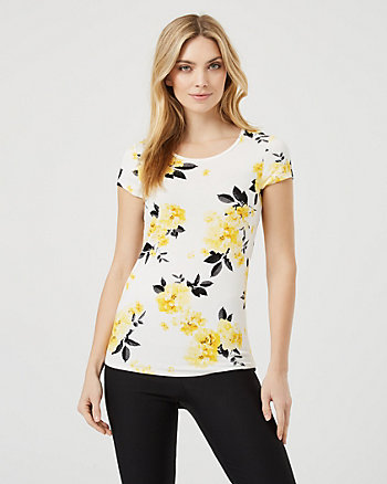 Floral Viscose Blend Crew Neck T-Shirt
