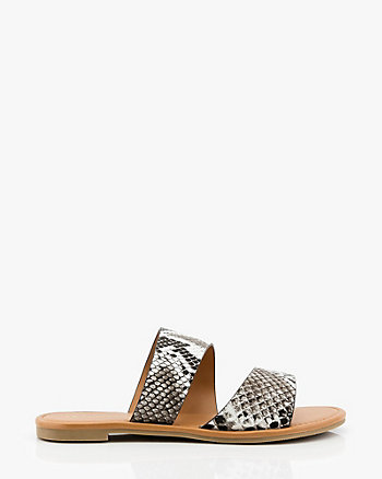 Snake Embossed Asymmetrical Slide Sandal