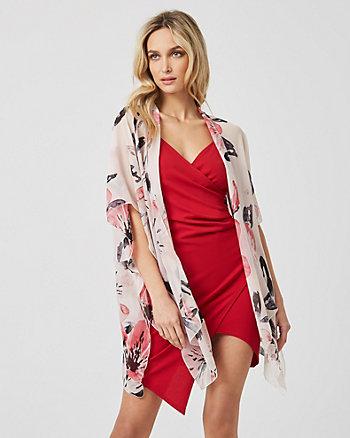 Floral Print Silk-Like Kimono