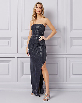 Metallic Knit High Slit Gown