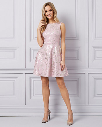 Foil Knit Fit & Flare Cocktail Dress