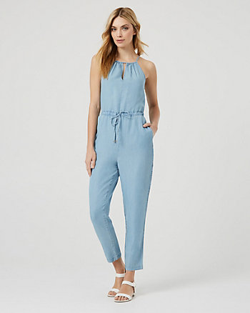Lyocell Halter Neck Slim Fit Jumpsuit