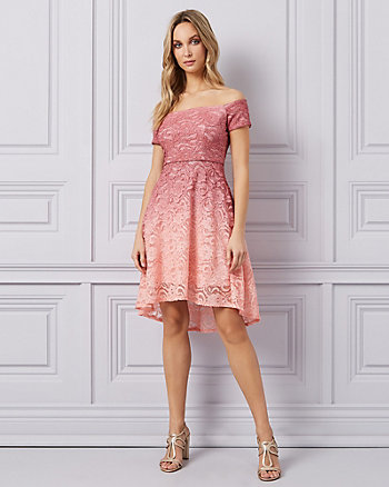 Ombré Sparkle Lace Cold Shoulder Cocktail Dress