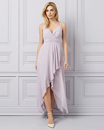Chiffon High-Low Wrap-Like Gown