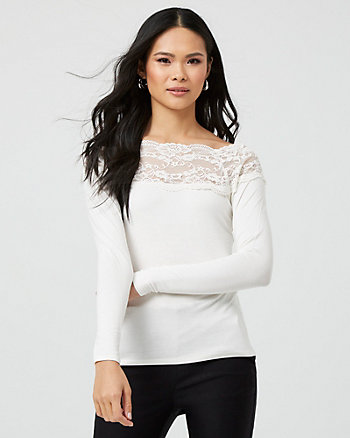 Lace & Knit Boat Neck Top
