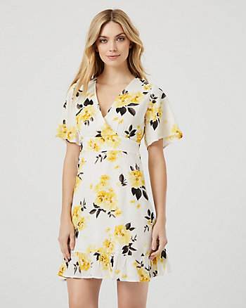 Floral Print Flutter Sleeve Wrap-Like Dress