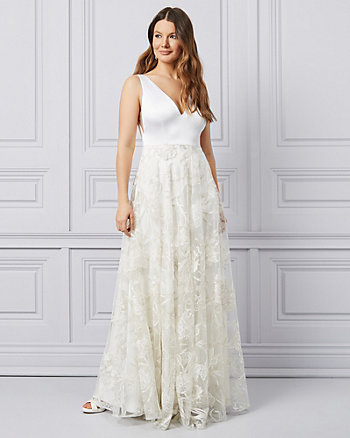 Embroidered Tulle V-Neck Ball Gown