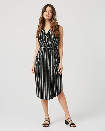 Stripe Viscose Belted Shirtdress