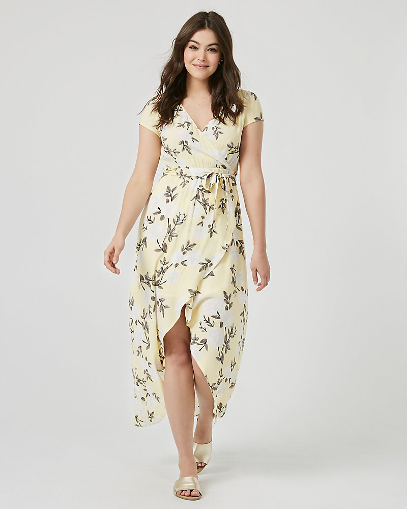 3564e83fb5f Floral Print Viscose Crêpe High-Low Maxi Dress